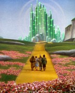 "(The futuristic ""Emerald City"" in the 1939 film ""The Wizard of Oz"". The ""wizard"" who controls the city is a fraud who uses theatrical technology to disguise his lack of real power.)"